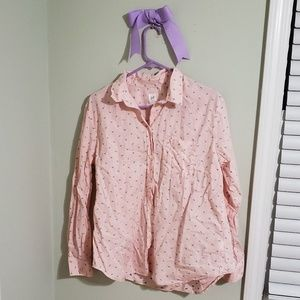 Pink striped button down with blue dot accents